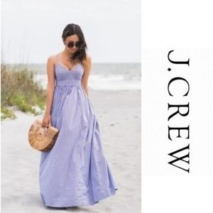 J. Crew Spaghetti Strap Gingham Long Maxi Dress A5